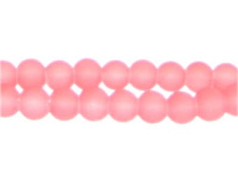 8mm Peachy Pink Sea/Beach-Style Glass Bead, approx. 53 beads