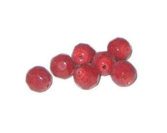 Approx. 1oz. x 10mm Deep Red Opaque Faceted Round Bead