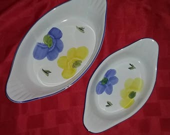 Oven to table Casserole Dishes with Floral  design .Beautiful Hand Painted in Portugal made by Maxam