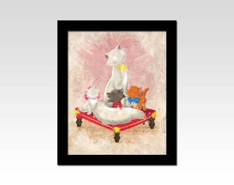 Aristocats inspired Duchess and her kittens watercolour effect print