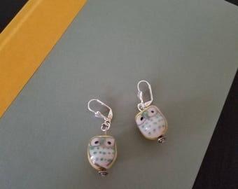 Ceramic Yellow Owl Earrings, Silver Earrings, Owl Earrings, Yellow Earrings
