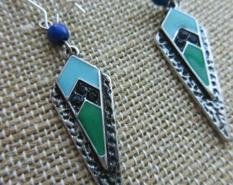 Tribal, green, blue and silver hammered metal,arrow head dangle earrings. Enamel.