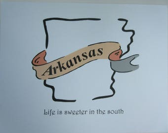 Arkansas, life is sweeter in the south, wall art print, wall decor.