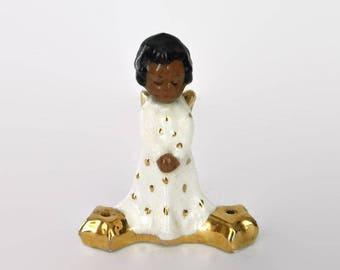 Antique Tehachapi Ceramic Black Angel Figurine Signed, with Hand-painted Gold Leaf Design and Two Sparkler Holders