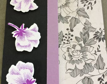 Thank You Card in Purple and Black, blank, hand stamped, beautiful black floral patterned paper