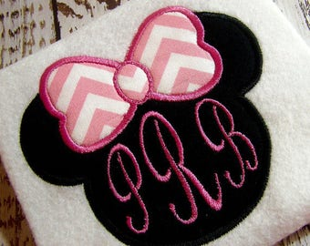 Applique Minnie mouse ears, Happy Birthday appliqué instant download machine embroidery design, Monogram appliqué  Minnie mouse design