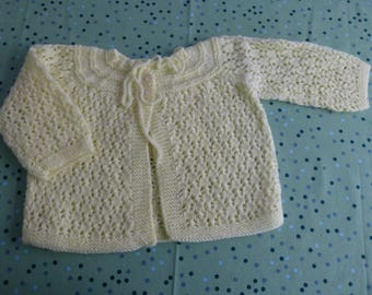 Knitted yellow cardigan/sacque - 6-9 months