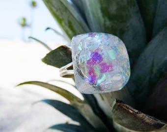 Moonstruck Ring, Iridescent Ring, Iridescent Jewelry, Sparkle Ring, Glitter Ring, Glitter Jewelry, Resin Jewelry, Resin Ring