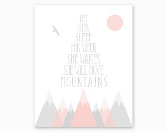 PINK GRAY NURSERY, Nursery Printable, Girl Nursery Art, Girl Nursery Decor, Mountains Nursery, She Will Move Mountains, Instant Download