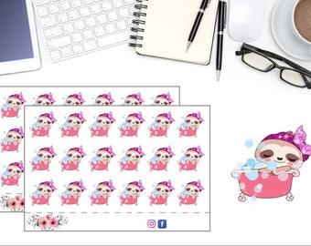Kawaii Sloth Bath Time Planner Stickers, Cute Sloth Stickers