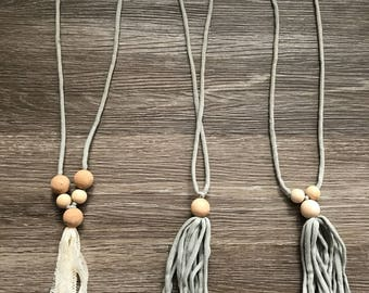 Adjustable Beaded Necklace Gray