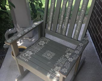 Bohemian style vintage rocking chair hand-crafted and stenciled