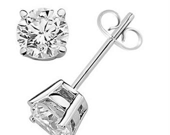 0.20 CTW Round White Diamond Solitaire Stud Earrings In 14K  Gold