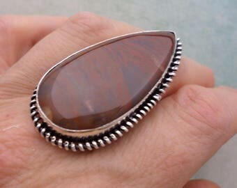 SILVER ring 925 (BA165) MOSS Agate