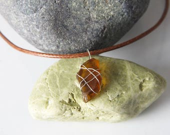 Sea glass pendant. Brown sea glass. Wired pendant