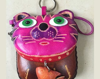 Beautiful top quality leather CAT WITH FISH wristlet  coin purse bag hand made dyed and tooled kitty zip money holder card holder