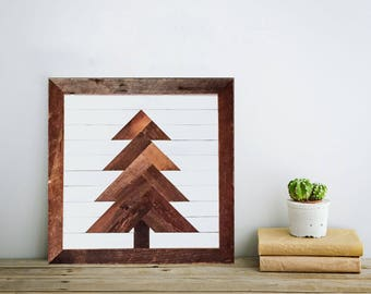 Reclaimed Evergreen - Wooden Pine Tree Mosaic Rustic Home Wall Décor made with Cedar Barn Wood from the Finger Lakes in Upstate NY