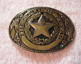The State of Texas Belt Buckle Silvertone
