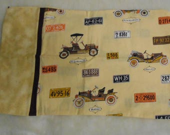 Vintage Cars & license plates pillow case for travel pillow  personalize it
