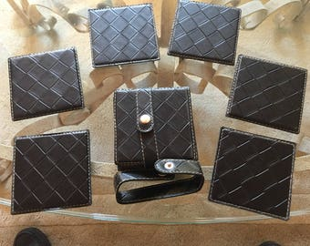 Leather Coasters - set of six coasters with leather strap
