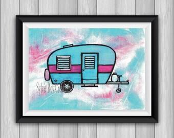 digital download, print, caravan, wall decor, office, watercolor, instant, caravan, to download, image, camping