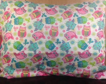"Colorful Owls  Pillow Cover + Pillow Insert,  Your choice of 12"" x 16"" or 16"" x 16"""