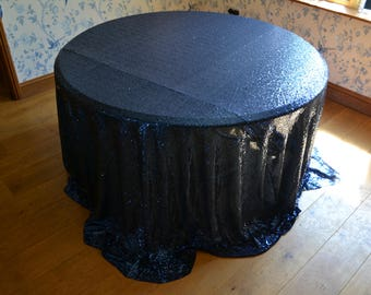 """Sparkly Blue Navy Sequinned Tablecloth Overlay 10' (120"""") Round"""