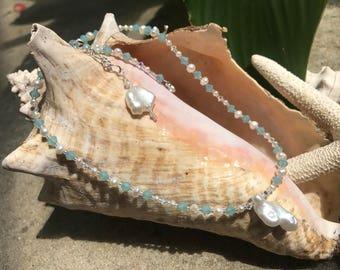Freshwater pearl & Swarovski crystal adjustable necklace