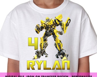 Transformers Iron On Transfer , Transformer Birthday Shirt DIY , Boy DIY Birthday Shirt , Digital File , Iron On Transfer , Personalize Name