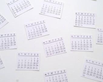 Set of 14 Monday/Sunday start monthly mini calendar stickers