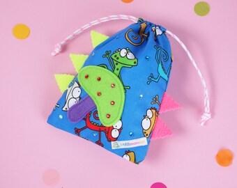 Small bag / gift bag blue with mushroom