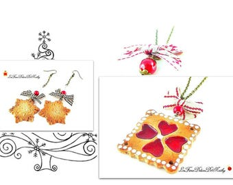 Finery jewels Christmas necklace biscuit hearts cherry Alsatian and earrings biscuits stars fimo