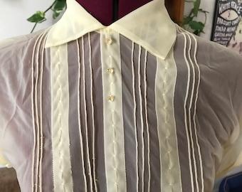 1950s sheer pintuck yellow summer blouse