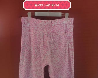 Vintage Guess Pants Fullprint Pant Pink Colour Designer Junya Watanabey Pants Issey Miyake Pants