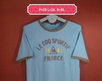 Vintage Le Coq Sportif Shirt Ringer Shirt pellout Big Logo Embroide Shirt Blue Colour Size O Fila Shirts Nike Shirts Adidas Shirt Sportwear