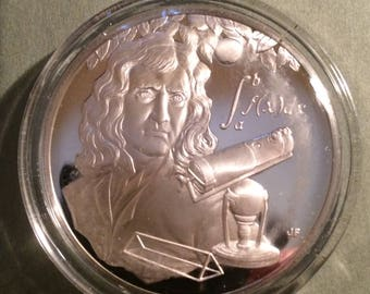 Isaac Newton - Sterling Silver History of Science (Proof)