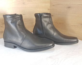 Officer boots, Vintage boots, Military boots, Black military boots, Mens leather boots, Mens leather zipper boots, Mens combat boots