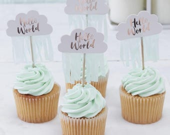 Hello World Cupcake Toppers, Baby Shower, Party Cake Toppers, Baby Shower Cupcake Cake Toppers, Cake Decorations, Baby Shower Cake