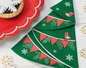 Christmas Tree Paper Party Napkins, Christmas tableware, Christmas Party, decor, Christmas Napkins