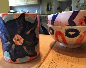 Moroccan mug and bowls set