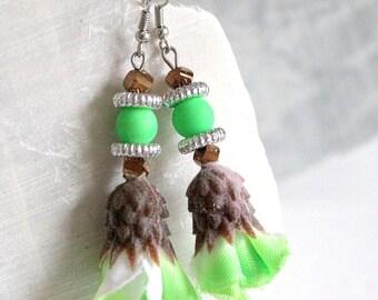 Neon Green Flower dangle earrings