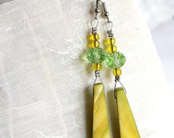 Green Pearl teeth earrings