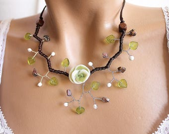 Green floral necklace cold porcelain