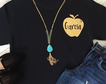 Teacher Shirt With Last Name Women's Fashion Tee