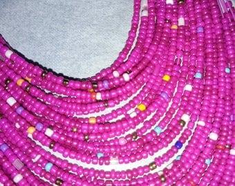 Multi layered drop neck bead necklace