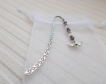 winged heart bookmark silver page holder beaded gift for women purple beaded bookmark handmade gift charm book mark silver accessories