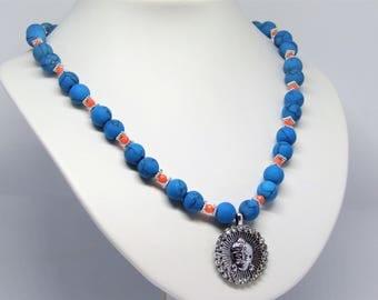 Necklace Chinese turqoise with buddha pendant