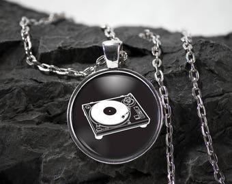 Turntable Glass Pendant music necklace dj jewelry turntable gift music pendant photo pendant art pendant photo jewelry glass jewelry