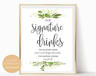 Wedding Signature Drink Cocktail Sign for your Wedding or Special Event Printable Drink Sign PDF Instant Download 8x10, 5x7, 4x6 Greenery