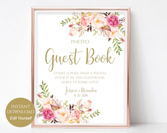 Personalized Photo Guest book Sign Template Printable Guest Book Wedding Photo Guestbook PDF Instant Download 8x10, 5x7, 4x6 Pastel Blooms